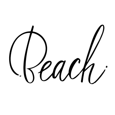 Beach hand lettering design for posters, t-shirts, cards, invitations, stickers, banners. Vector.