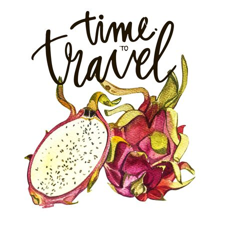 Lettering phrase -Time to travel. Composition with watercolor hand drawn tropical fruits. Background for food packaging, cards posters. isolated on white . Stock Photo