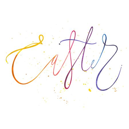 Easter watercolor lettering for greeting card with splashes. Isolated illustration on white background.