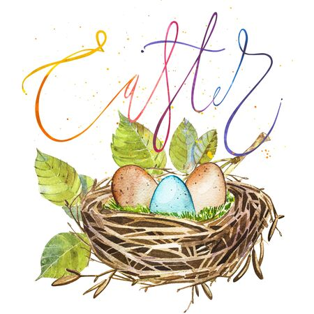 Hand drawn watercolor art bird nest with word-Easter. Isolated illustration on white background.