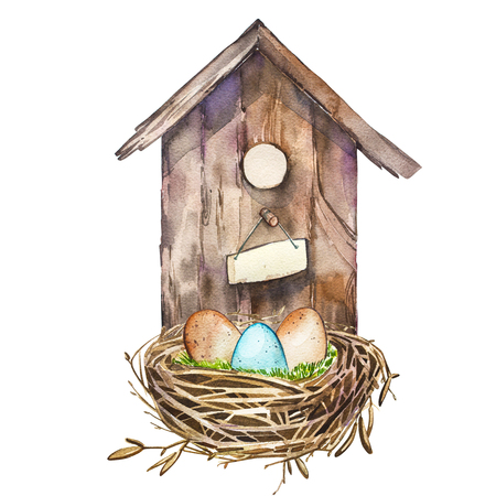 Watercolor birdhouse. Hand painted nesting box isolated on white background. Easter design