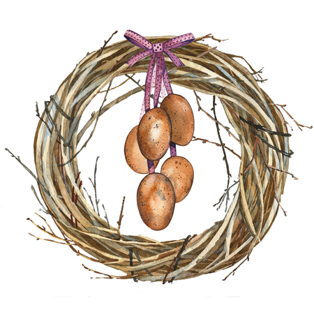 Hand drawn watercolor art Wreath with eggs. Isolated illustration on white background. Stock Photo