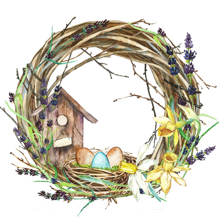 Hand drawn watercolor art Wreath with Spring flowers and bird nest with eggs. Stock Photo