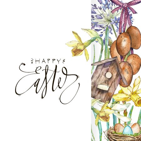 Spring flowers narcissus with nest, birdhouse, eggs. Isolated on white background. Watercolor hand drawn illustration card with lettering - Happy Easter.