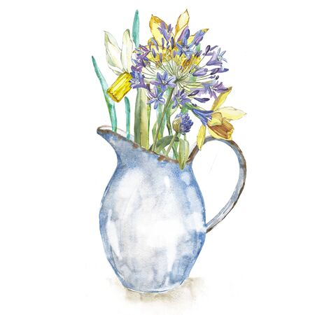 Spring flowers narcissus in enamel jug. Isolated on white background. Watercolor hand drawn illustration. Easter design.