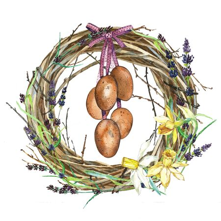 Hand drawn watercolor art Wreath with Spring flowers and bird nest with eggs. Isolated illustration on white background. Stock Photo