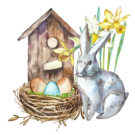 Watercolor birdhouse with Rabbit. Hand painted nesting box isolated on white background. Easter design