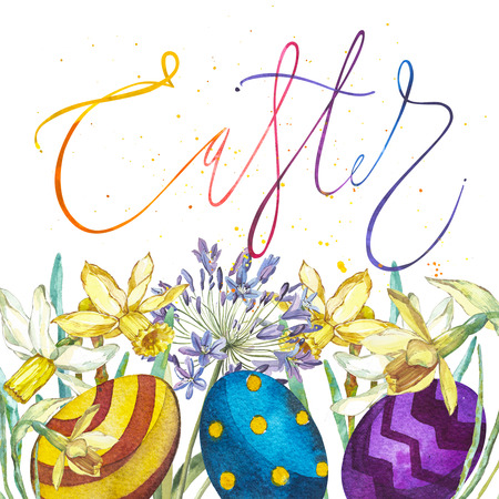 Hand drawn watercolor art eggs with flowers and word-Easter. Isolated illustration on white background.