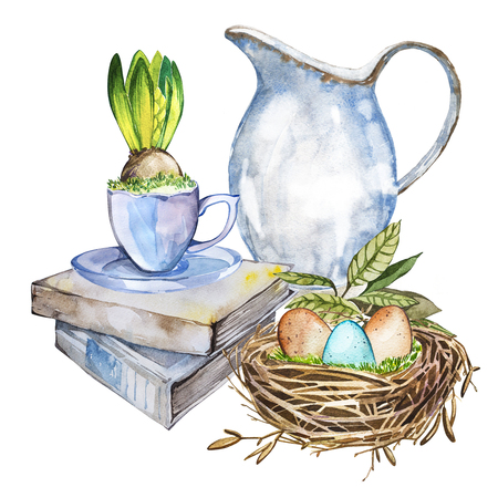reproduce: Hand drawn watercolor art bird nest with eggs on the books, easter design. Isolated illustration on white background. Stock Photo