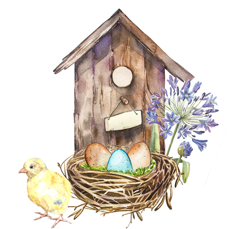 Watercolor birdhouse with Spring flowers, rooster, eggs. Hand painted nesting box isolated on white background. Easter design Stock Photo