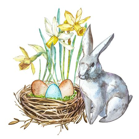 Watercolor Spring flowers with Rabbit, bird nest with eggs. Hand painted nesting box isolated on white background. Easter design