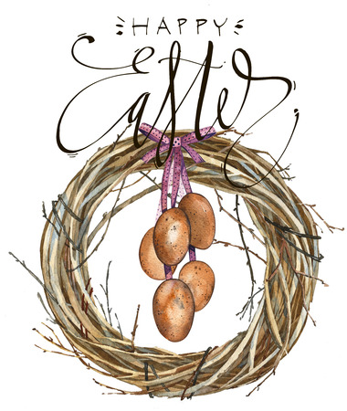 background texture metaphor: Hand drawn watercolor art Wreath with word Easter, eggs. Isolated illustration on white background. Stock Photo