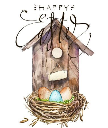 Watercolor birdhouse with bird nest with eggs. Word - Easter. Hand painted nesting box isolated on white background. Easter design