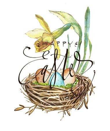 reproduce: Hand drawn watercolor art bird nest with eggs and spring flowers , easter design. Lettering - Happy Easter. Isolated illustration on white background.
