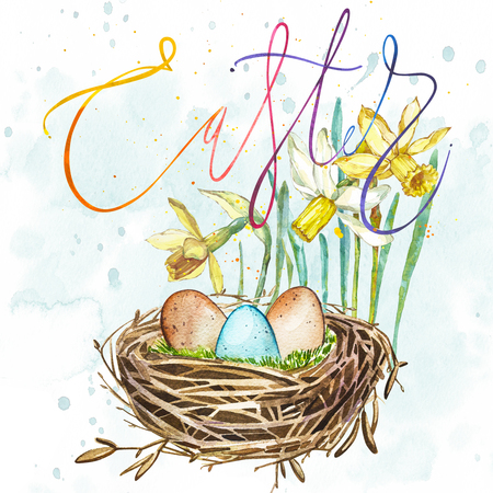 reproduce: Hand drawn watercolor art bird nest with eggs and spring flowers , word-easter. Isolated illustration on white background.