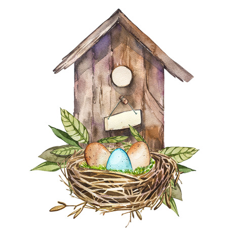 Watercolor birdhouse with Spring flowers, eggs. Hand painted nesting box isolated on white background. Easter design 版權商用圖片