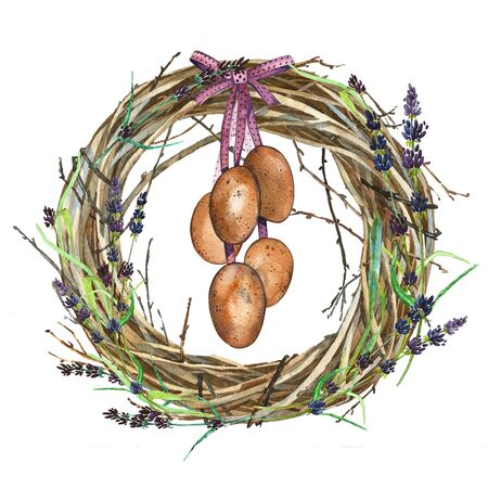reproduce: Hand drawn watercolor art Wreath with Spring flowers and eggs. Isolated illustration on white background. Stock Photo