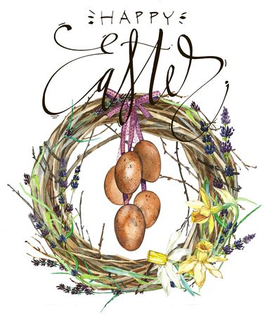 Hand drawn watercolor art Wreath with word Easter, eggs. Isolated illustration on white background. Stock Photo