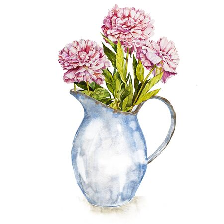 Spring flowers in enamel jug. Isolated on white background. Watercolor hand drawn illustration. Easter design. Stock Photo