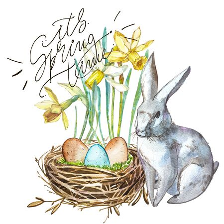 Watercolor Spring flowers with Rabbit, bird nest with eggs and lettering-it s Spring time. Hand painted nesting box isolated on white background. Easter design