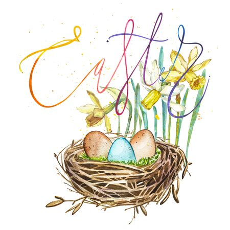 Hand drawn watercolor art bird nest with eggs and spring flowers , word-easter. Isolated illustration on white background.