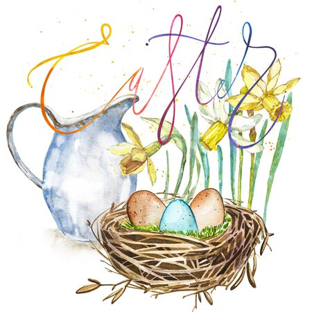 Watercolor Spring flowers with jug, bird nest with eggs and word Easter. Easter design Stock Photo