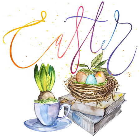 Hand drawn watercolor art bird nest with eggs on the books, easter design and word Easter. Isolated illustration on white background. Stock Photo