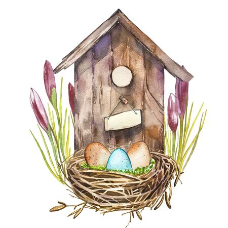 Watercolor birdhouse with Spring flowers, eggs. Hand painted nesting box isolated on white background. Easter design Stock Photo