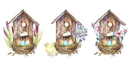 Set watercolor birdshouse with Spring flowers, eggs. Hand painted nesting box isolated on white background. Easter design