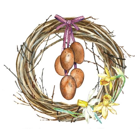 Hand drawn watercolor art Wreath with Spring flowers and eggs. Isolated illustration on white background. Stock Photo