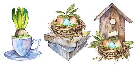 Set watercolor birdhouse with Spring flowers, eggs, bird nest, mug flower. Easter design Stock Photo
