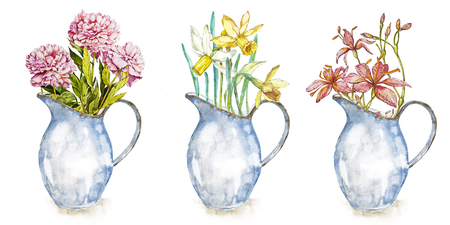 Set spring flowers in enamel jug. Isolated on white background. Watercolor hand drawn illustration. Easter design.