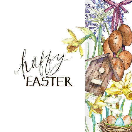 Spring flowers narcissus with nest, birdhouse, eggs. Watercolor hand drawn illustration card with lettering - Happy Easter.