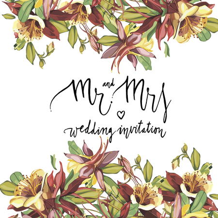 Floral frame with red flowers on light background. Greeting card or template for weddings Day design. Lettering - Mr and Mrs, wedding invitation