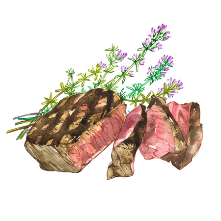 Beef with Thyme. Watercolor ribeye steak. Hand drawn illustration. Isolated on white background Stock Photo