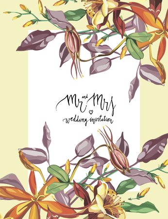 Floral frame with red flowers on light pattern. Greeting card or template for weddings Day design. Lettering - Mr and Mrs, wedding invitation. EPS10 Illustration