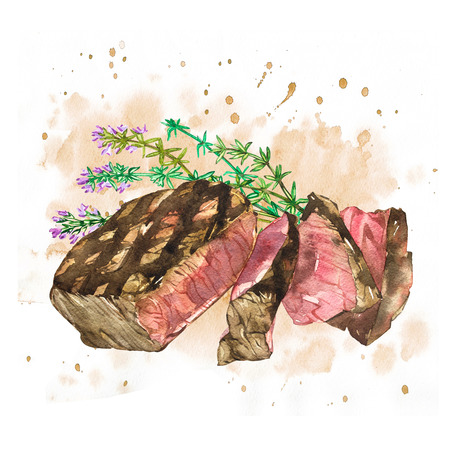 charred: Beef with Thyme. Watercolor ribeye steak. Hand drawn illustration. Isolated on white background Stock Photo