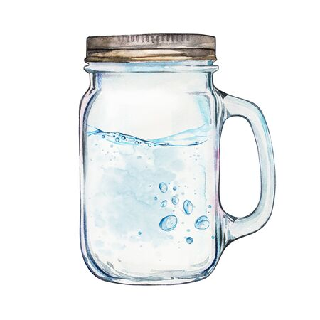 translucent: Isoleted Tumbler with stainless steel lid. Watercolor hand drawn painted illustration, water line and bubbles.