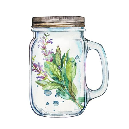 tumbler: Isoleted Tumbler with stainless steel lid and sage. Watercolor hand drawn painted illustration, water line and bubbles.