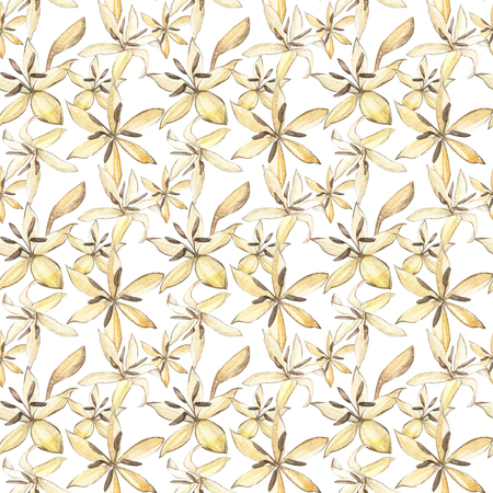 Hand drawn watercolor flowers coffee seamless background. Isolated on white background.