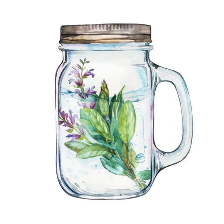 stainless steel: Isoleted Tumbler with stainless steel lid and sage. Watercolor hand drawn painted illustration, water line and bubbles.