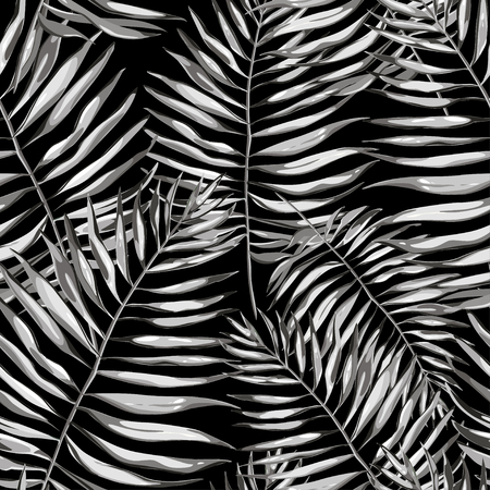 Black and white tropical leaves. Beautiful seamless vector floral pattern background, exotic print.