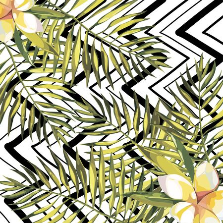 Tropical leaves. Beautiful vector floral pattern background, exotic print. EPS 10 Illustration