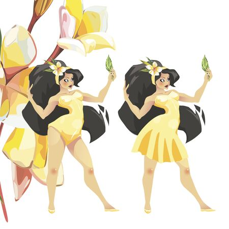 Young woman in yelow dress and flowers. Illustration, Graphic Design editable for your design. EPS 10