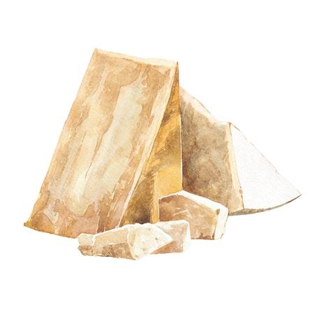 Queso parmesano. Ilustración de acuarela dibujado a mano. Aislado en el fondo blanco Foto de archivo - 78094419