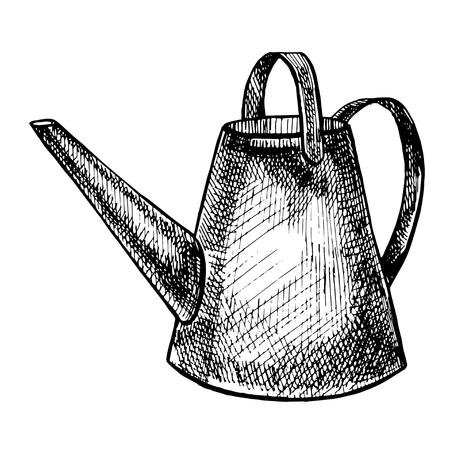 Grafic illustration of garden tools. Isolated on white background