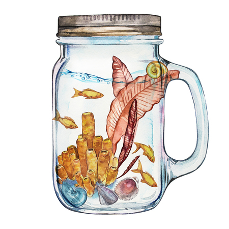 vaso de precipitado: Isoleted Tumbler with Marine Life Landscape - the ocean and the underwater world with different inhabitants. Aquarium concept for posters, T-shirts, labels, websites, postcards