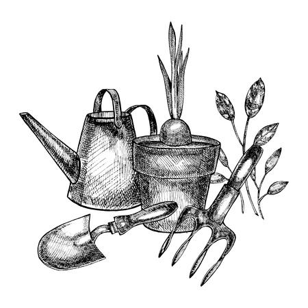 Grafic illustration of garden tools. Isolated on white background.