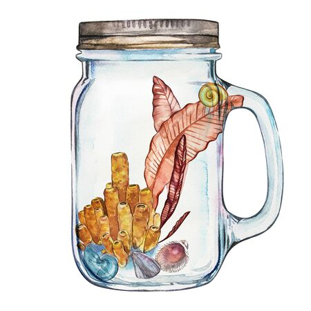 Isoleted Tumbler with Marine Life Landscape - the ocean and the underwater world with different inhabitants. Aquarium concept for posters, T-shirts, labels, websites, postcards