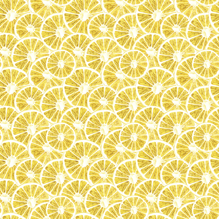 Lemon watercolor seamless pattern. Beautiful hand drawn texture. Romantic background for web pages, wedding invitations, textile, wallpaper